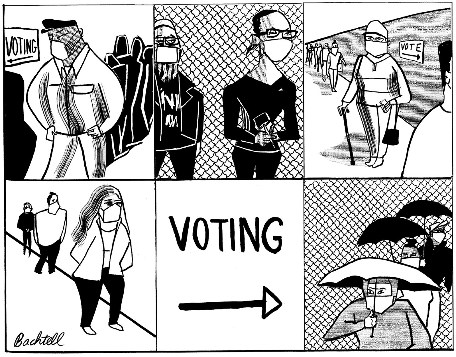 Drawing of masked people waiting to vote