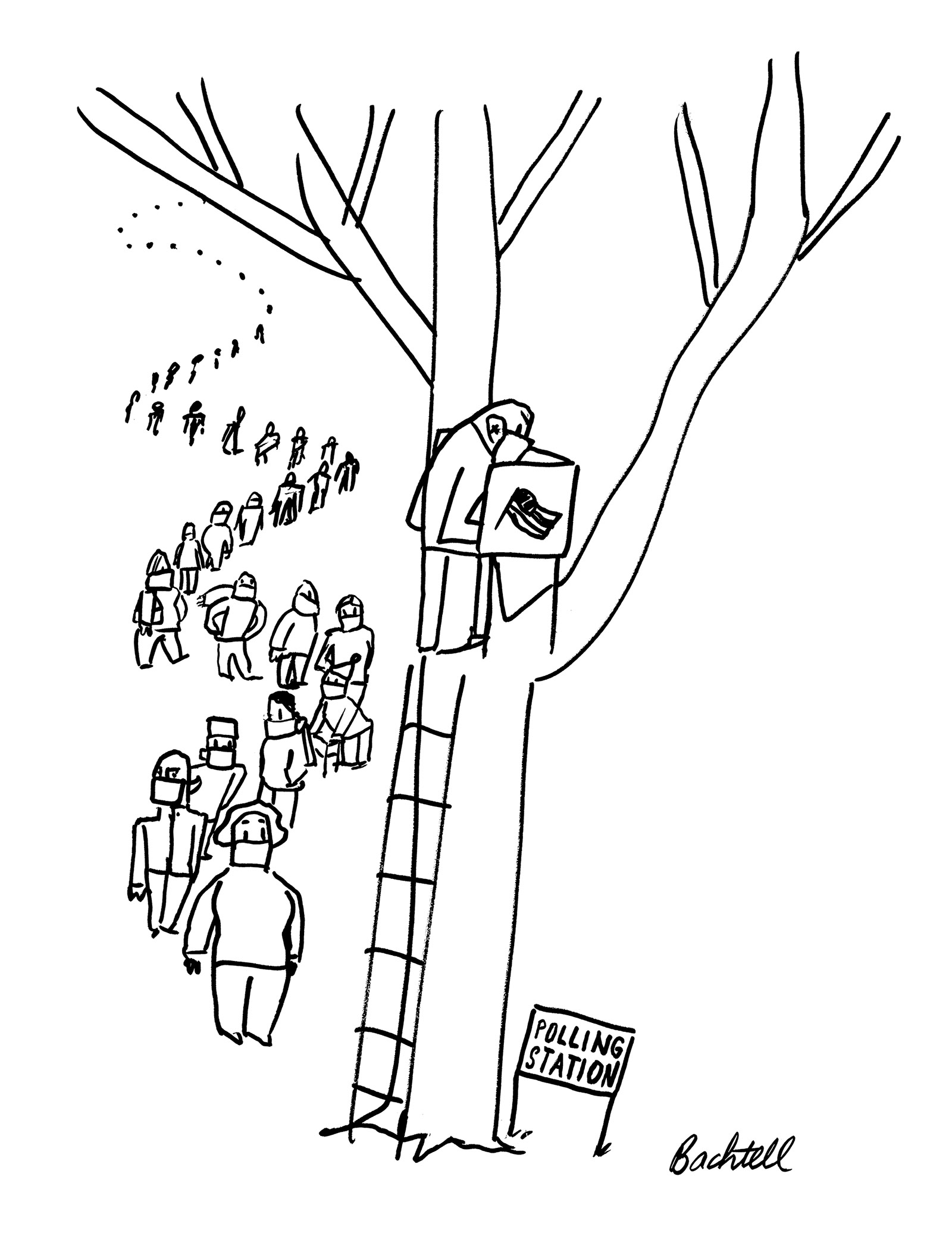Drawing of people with masks waiting in line to vote