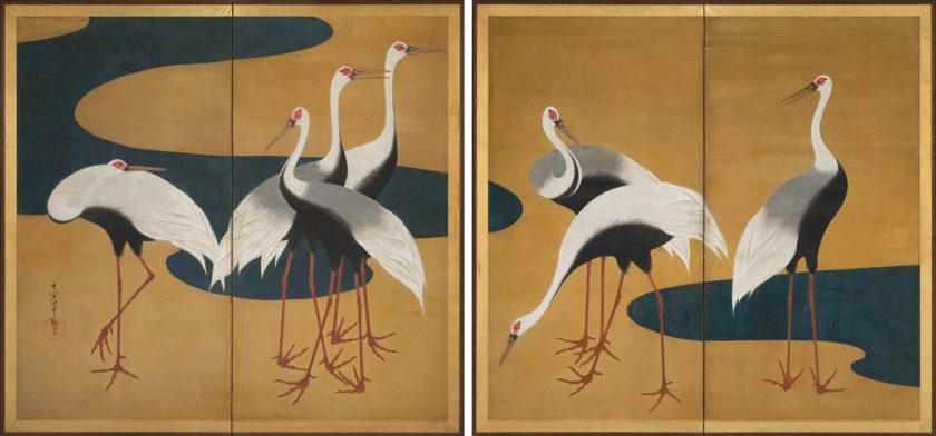 Suzuki Kiitsu: Cranes, circa 1820–1825