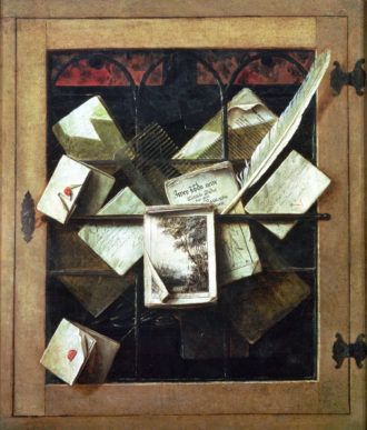 Trompe l'oeil with letters and notebooks, by Cornelis Norbertus Gysbrechts, 1665