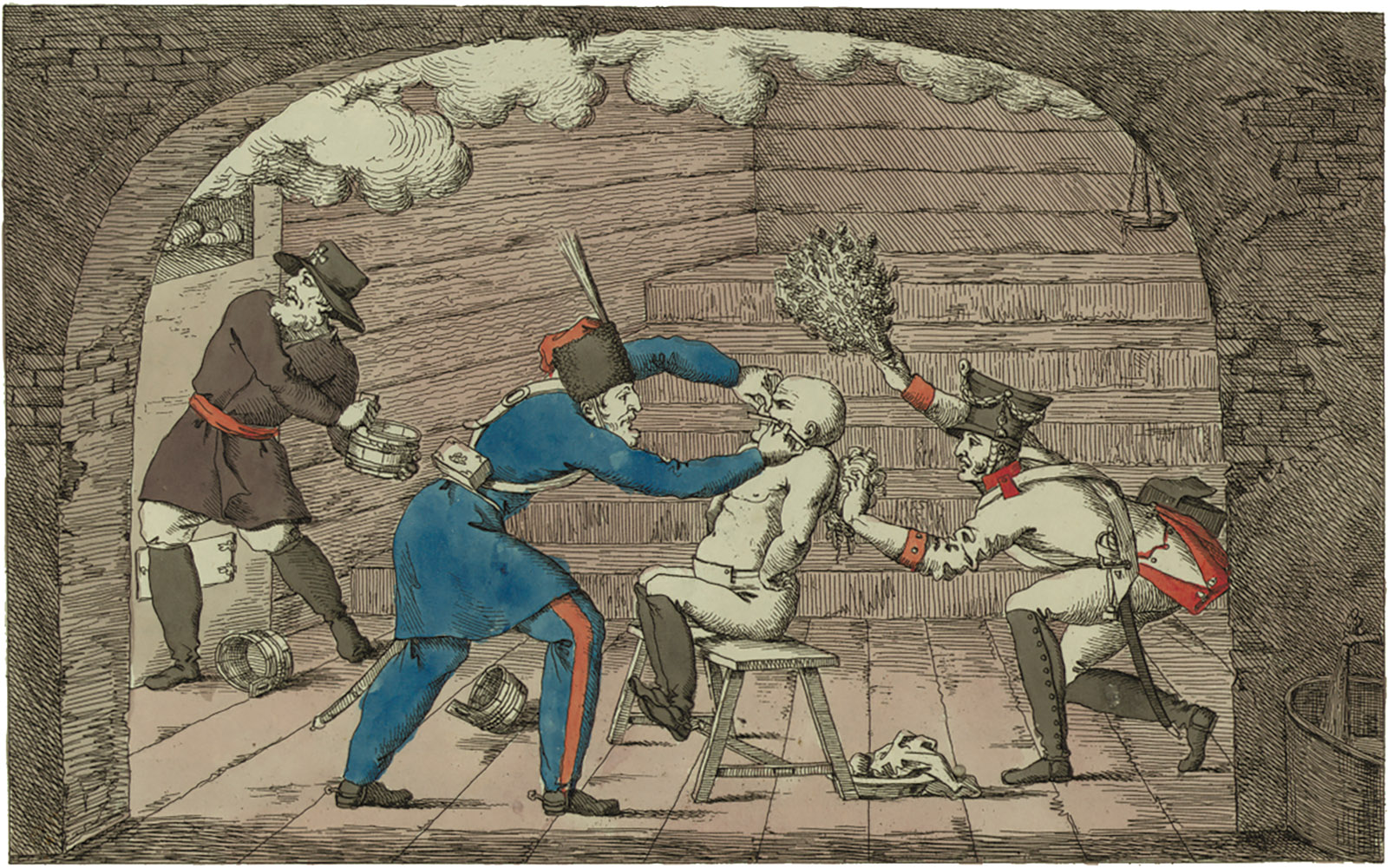 Napoleon being beaten in a banya; illustration by Ivan Terebenev