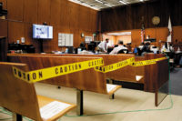 A socially distanced courtroom in Los Angeles, April 21, 2020