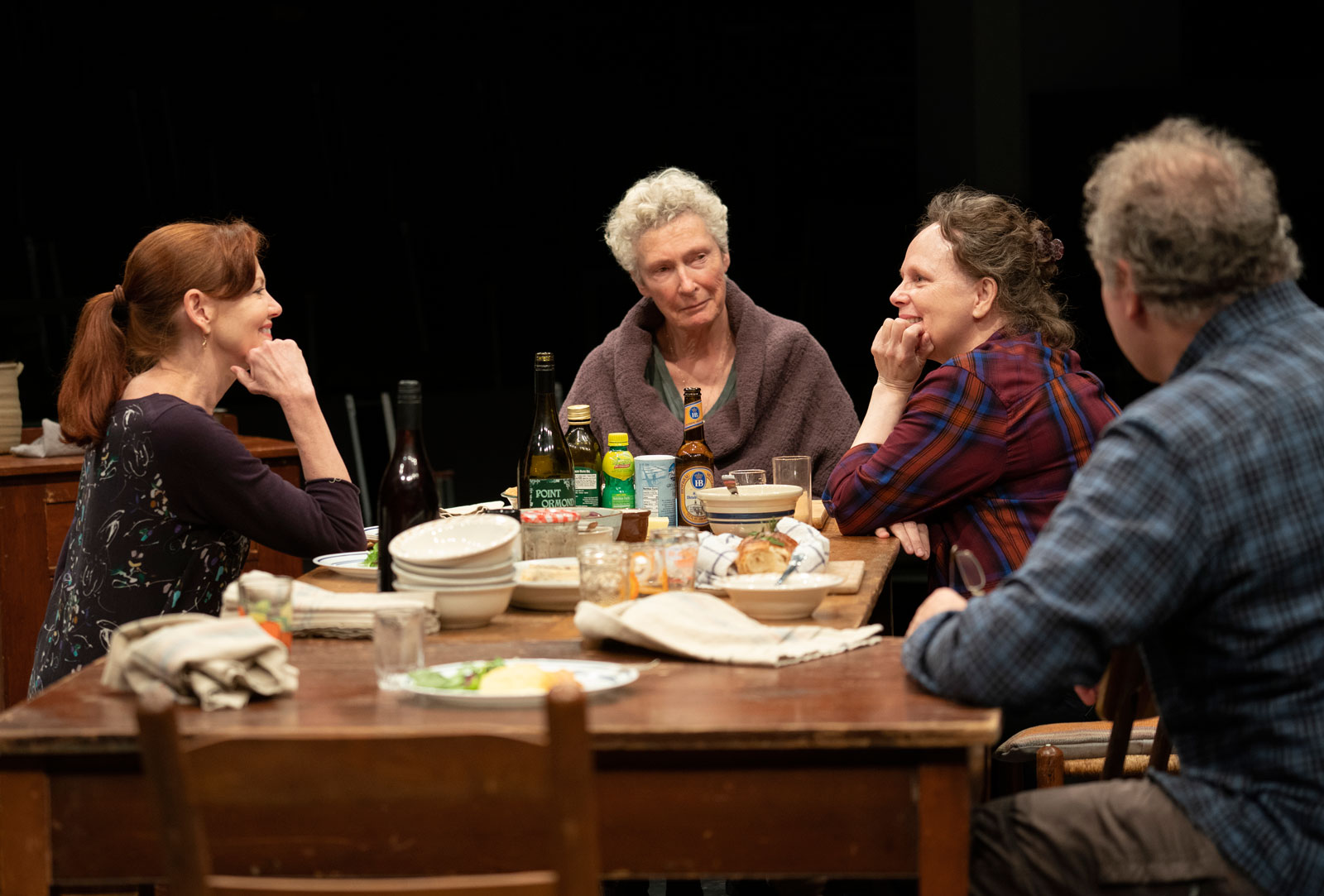 Haviland Morris, Brenda Wehle, Maryann Plunkett, and Jay O. Sanders in The Michaels, written and directed by Richard Nelson, at The Public Theater, October 27, 2019