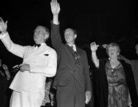 Senator Burton K. Wheeler, Charles Lindbergh, and novelist Kathleen Norris attending an America First Committee rally, New York, May 23, 1941
