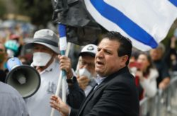 Leader of the Arab-Israeli Joint List parliamentary group Ayman Odeh attending a protest outside the Knesset in Jerusalem, Israel, March 23, 2020