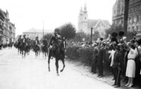 Mounted gendarmes moving through the city of Sopron in support of West-Hungarians protesting the Trianon Treaty that would turn over the territory to Austria, Hungary, 1921