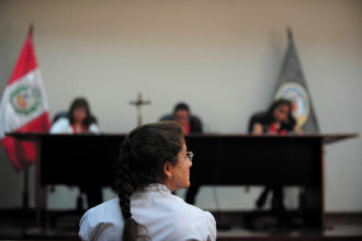 Lori Berenson at a parole hearing, Lima, January 2011