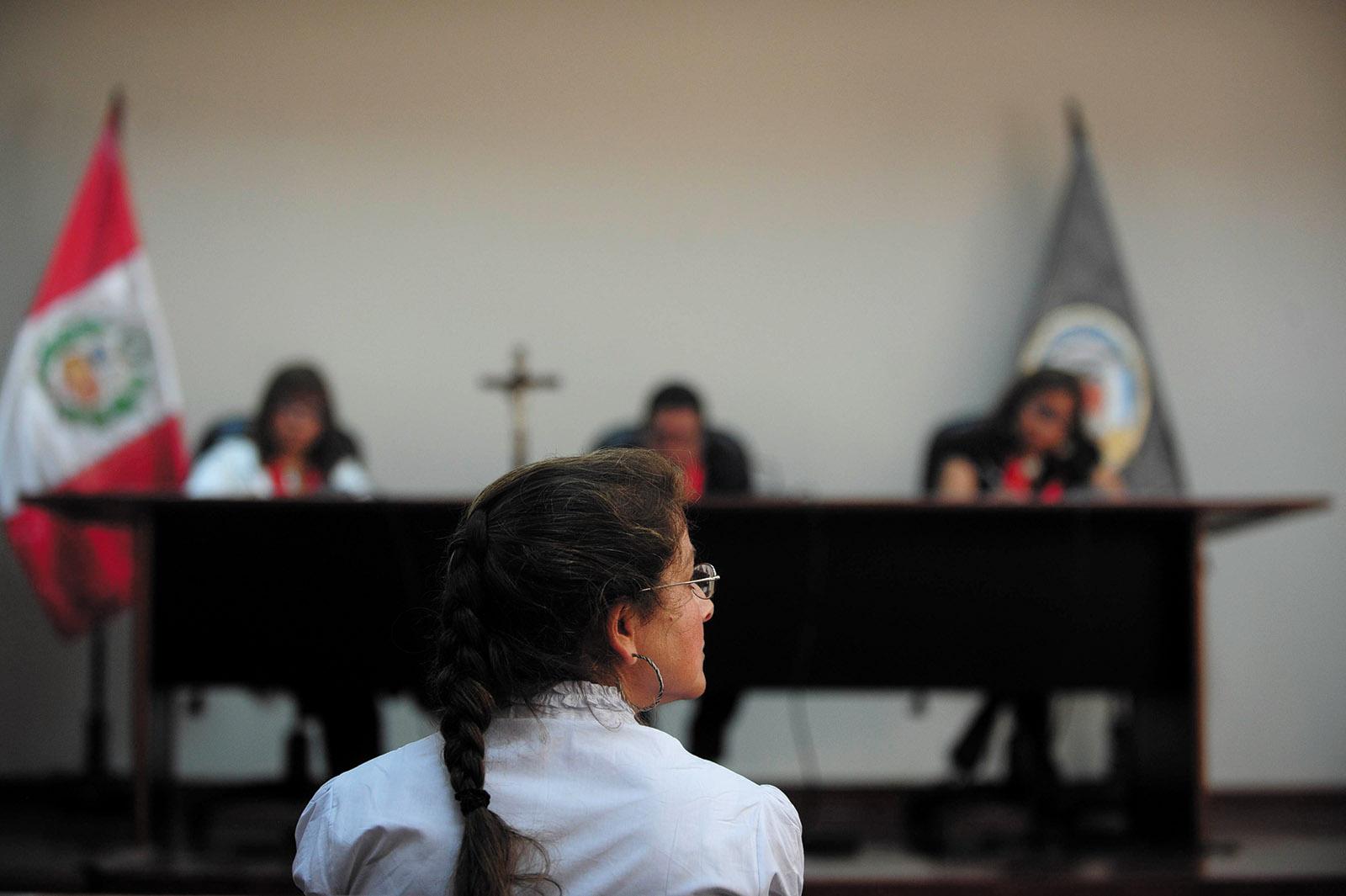 Lori Berenson at a parole hearing, Lima