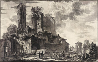 'View of the Remains of the Fountainhead of the Acqua Giulia...'; etching by Giovanni Battista Piranesi, 1753