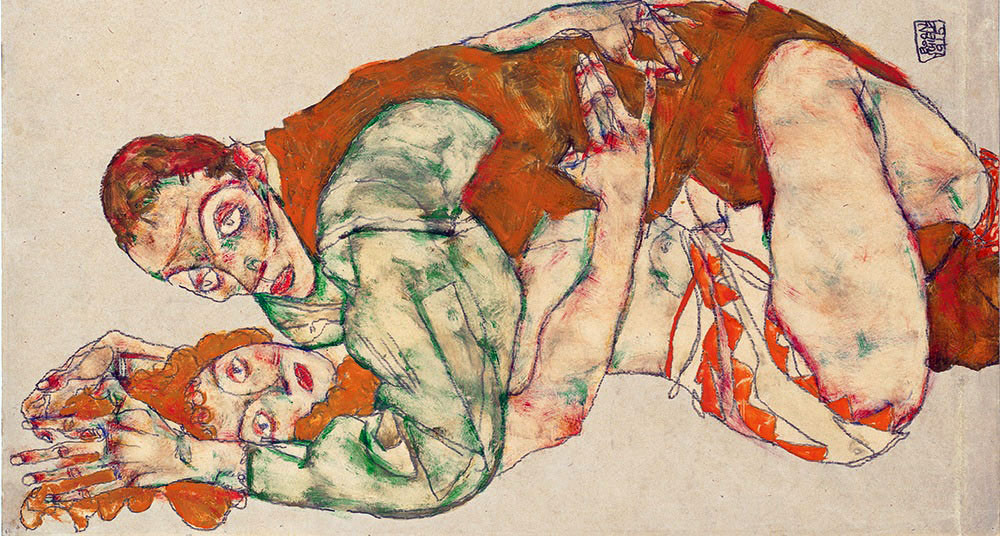 Egon Schiele: Lovemaking (detail), 1915