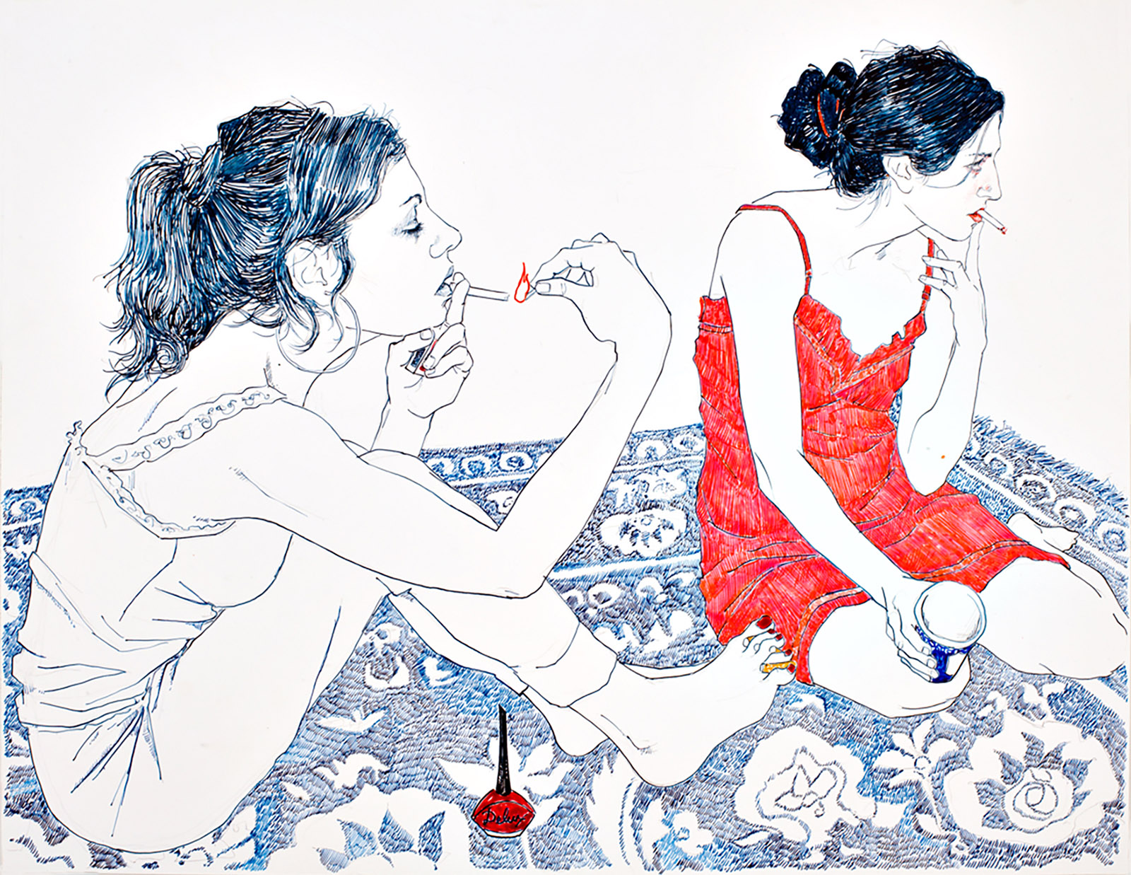 Drawing of two girls smoking and doing pedicures