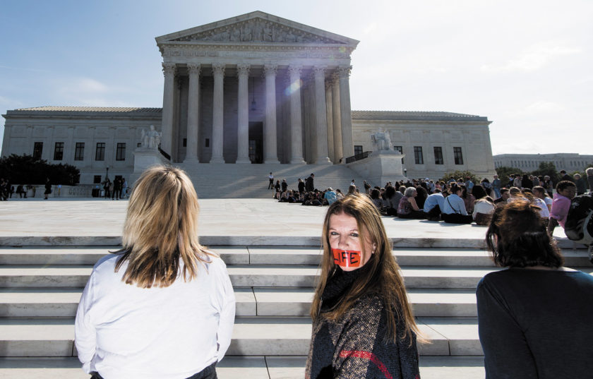 Anti-abortion demonstrators on the first day of the Supreme Court's new session, Washington, D.C., October 2019