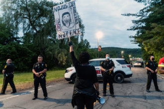 A protest outside Broome County Jail, Binghamton, New York