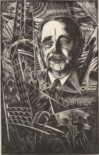 H.G. Wells; engraving by Stefan Mrozewski, 1935