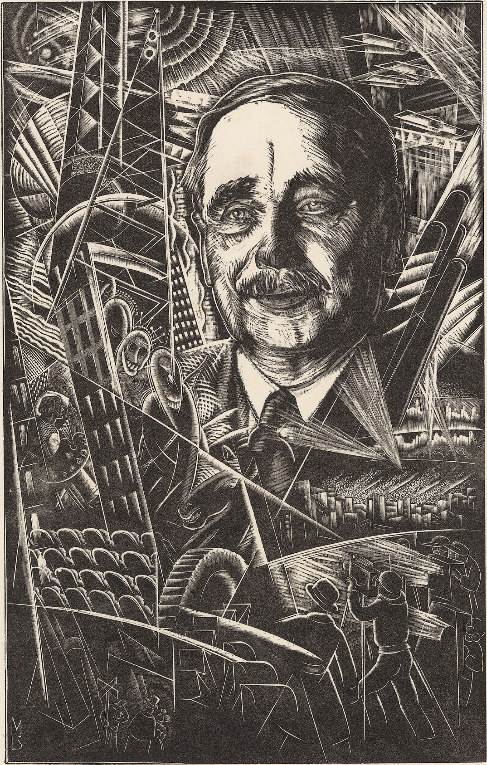 Engraving of H.G. Wells