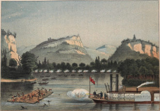 'The Battle of Bad Axe'; illustration by Henry Lewis, 1857. In Surviving Genocide, Jeffrey Ostler writes, 'Toward the end of the 1832 Black Hawk War, a cannon aboard the US steamship Warrior fired on Sauks and Mesquakies trying to escape US troops by crossing the Mississippi River. What the image shows is clearly a massacre, but in an especially striking example of colonial evasion, the caption refers to the event as a battle.'