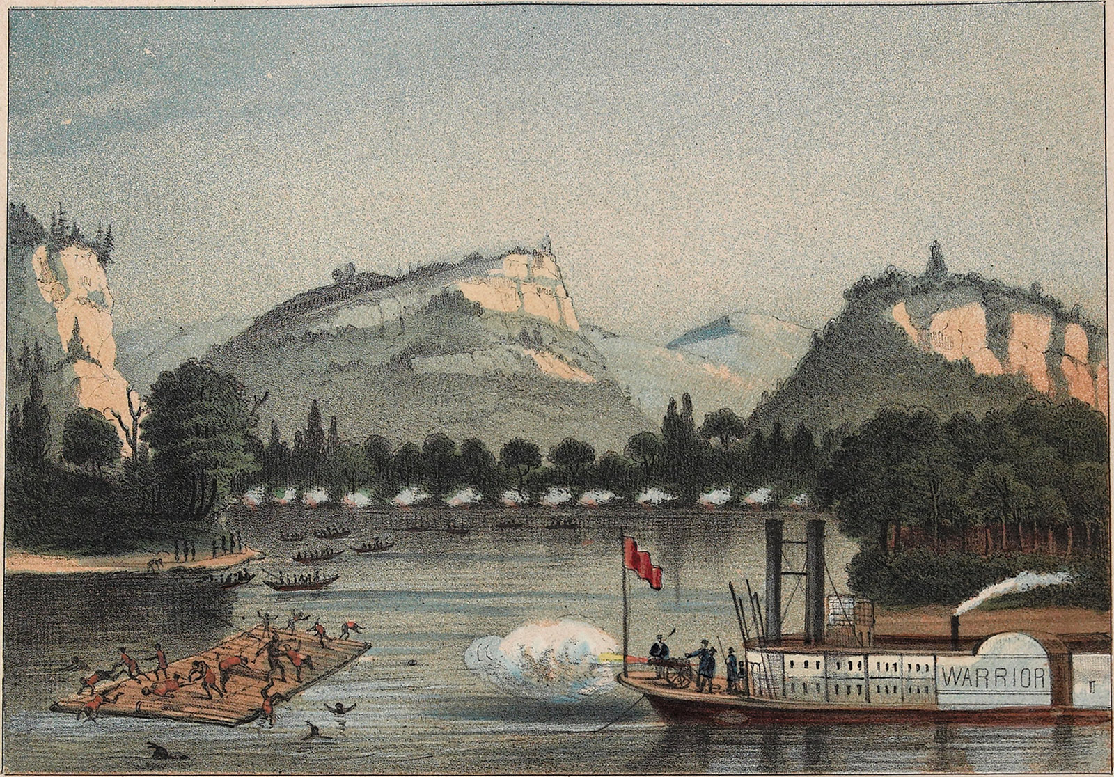Illustration of a massacre of Sauks and Mesquakies crossing the Mississippi River by a cannon on US steamship Warrior, 1857