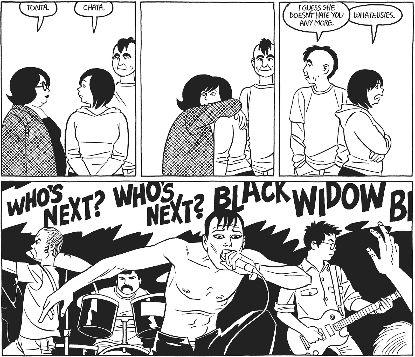 Tonta and her friends Chata and Moses at a performance by her favorite punk band, Ooot; from Jaime Hernandez's graphic novel Tonta