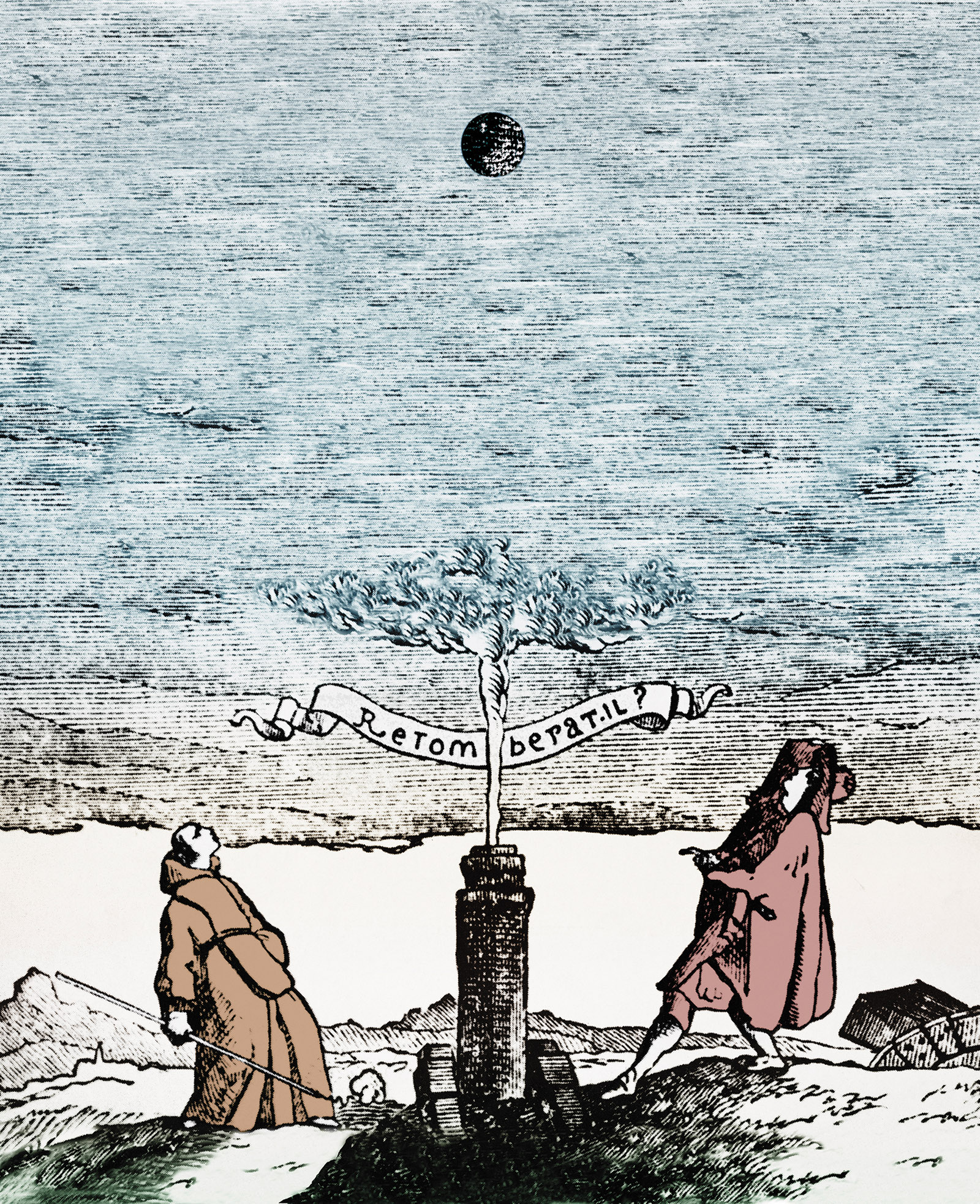 A woodcut illustrating a proposed experiment to test the behavior of falling bodies