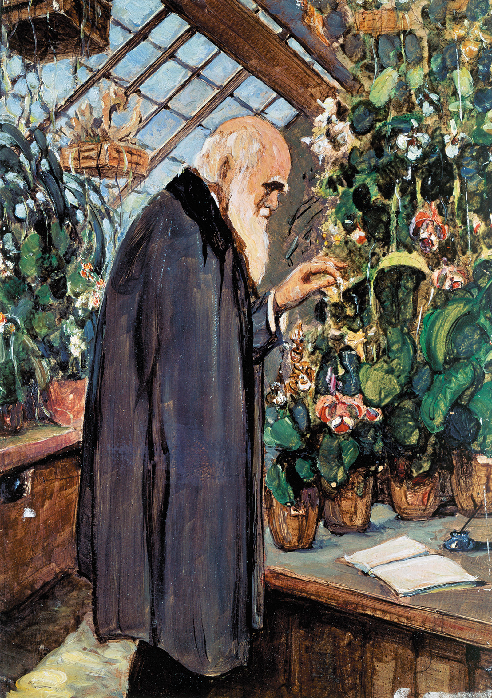 A painting of Charles Darwin in his greenhouse