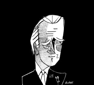 Joe Biden; drawing by Tom Bachtell