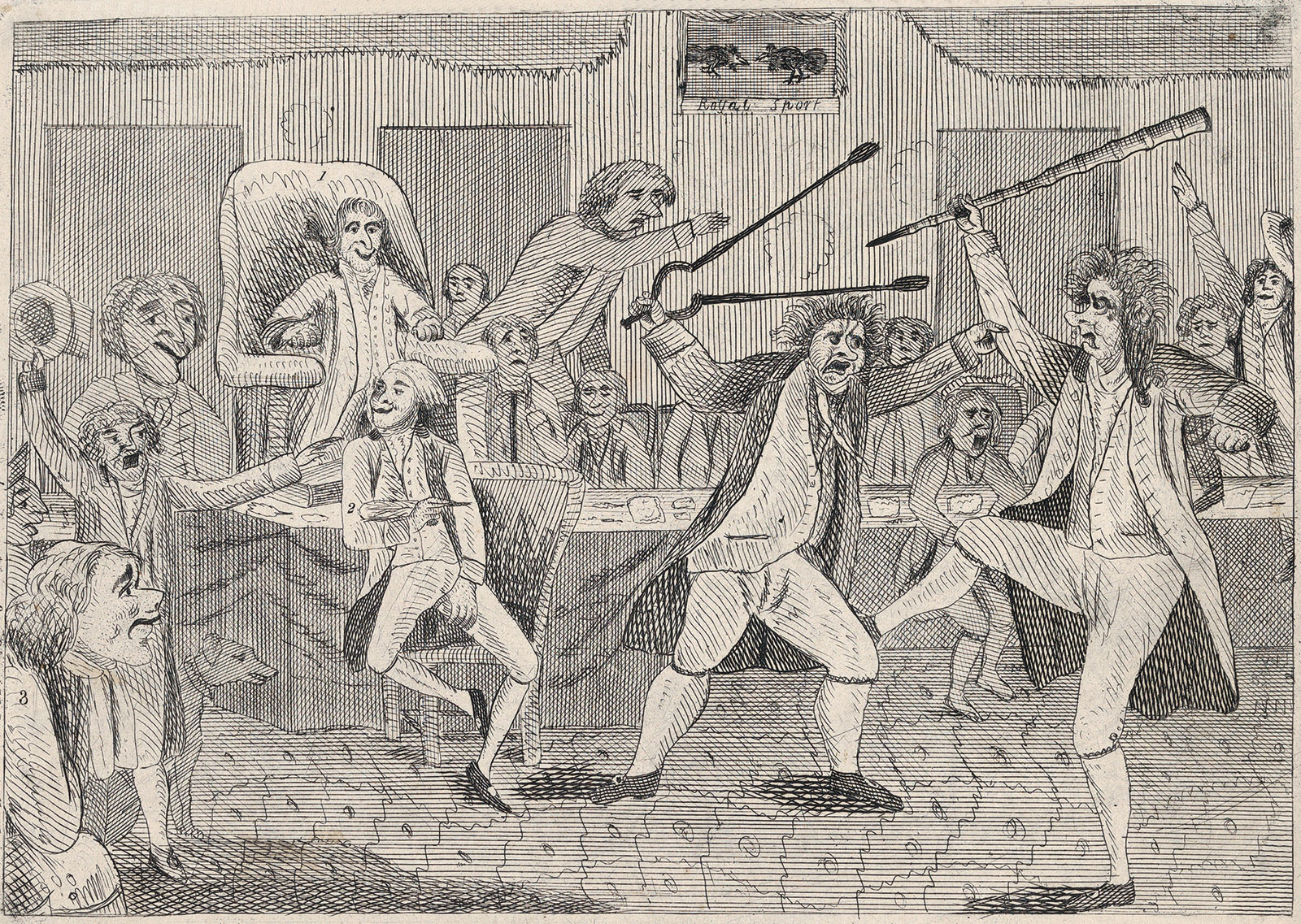 'Congressional Pugilists'; an anonymous cartoon depicting Republican and Federalist congressmen fighting on the floor of the House, 1798