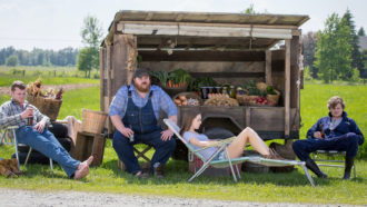 Wayne (Jared Keeso), Dan (K. Trevor Wilson), Katy (Michelle Mylett), and Daryl (Nathan Dales), Letterkenny, 2016
