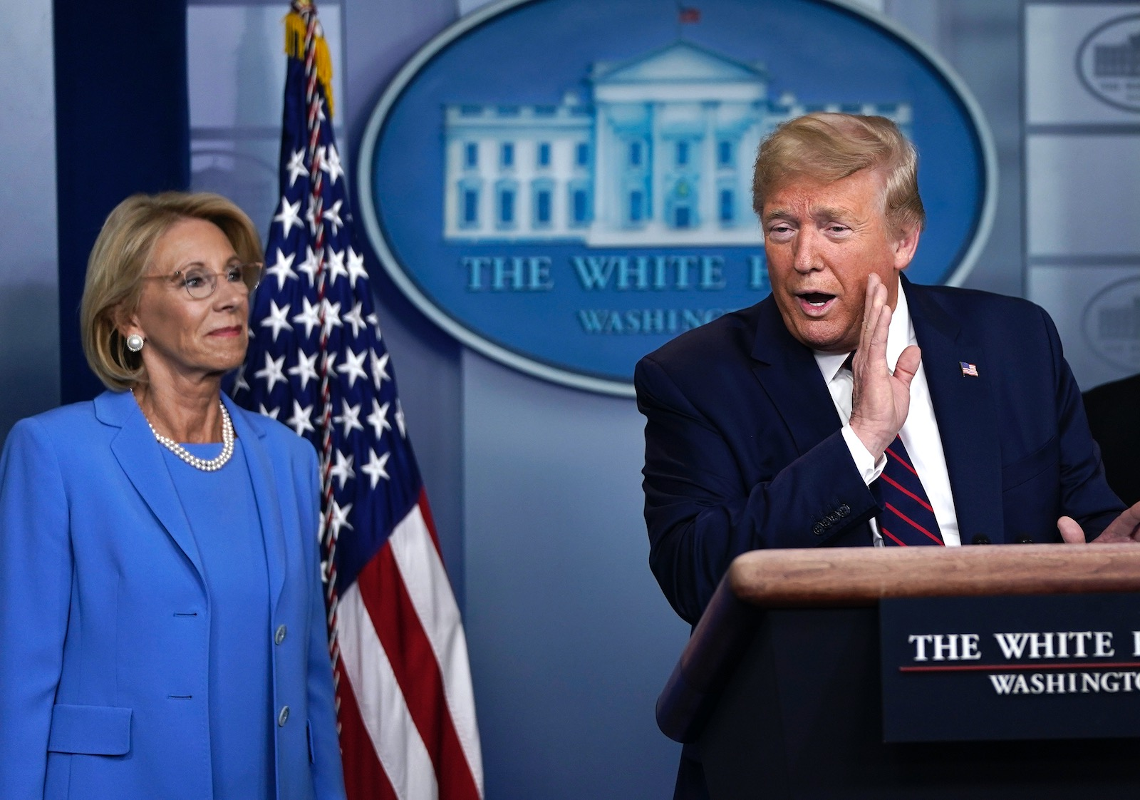 Secretary of Education Betsy DeVos attending President Trump's Coronavirus Task Force daily briefing, Washington, D.C., March 27, 2020