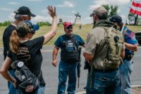 White nationalist militia members drawn to the Gettysburg National Military Park by a hoax that an Antifa group would be burning of American flags there, Pennsylvania on July 4, 2020