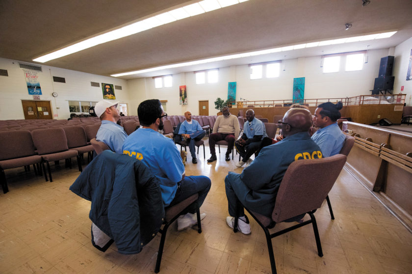 A Victim Offender Education Group meeting organized by the Insight Prison Project, a restorative justice program at San Quentin State Prison, California, 2017