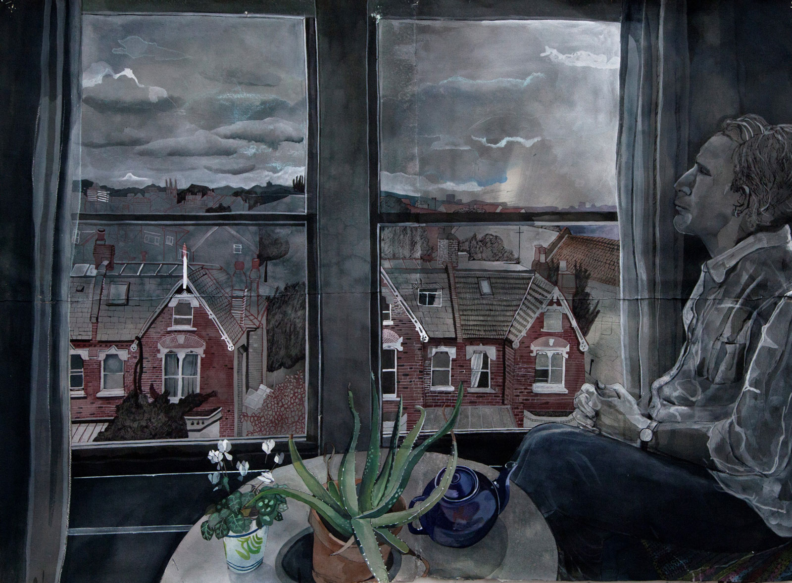 Sophie Charalambous: North London View with Ted, 2014