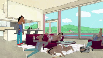 A scene from 'The Face of Depression,' an episode in season 6 of BoJack Horseman, 2019