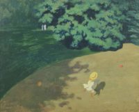 Félix Édouard Vallotton: The Ball (Corner of the park with child playing with a ball), 1899