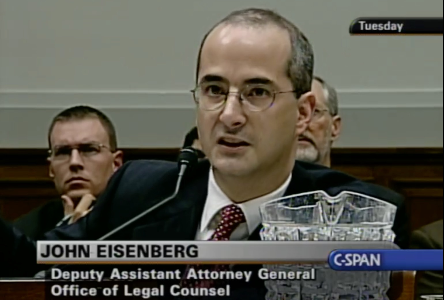 John Eisenberg, now deputy White House counsel, making a rare appearance, at a congressional hearing when he was deputy assistant attorney general in the DOJ's Office of Legal Counsel, Washington, D.C., September 12, 2006