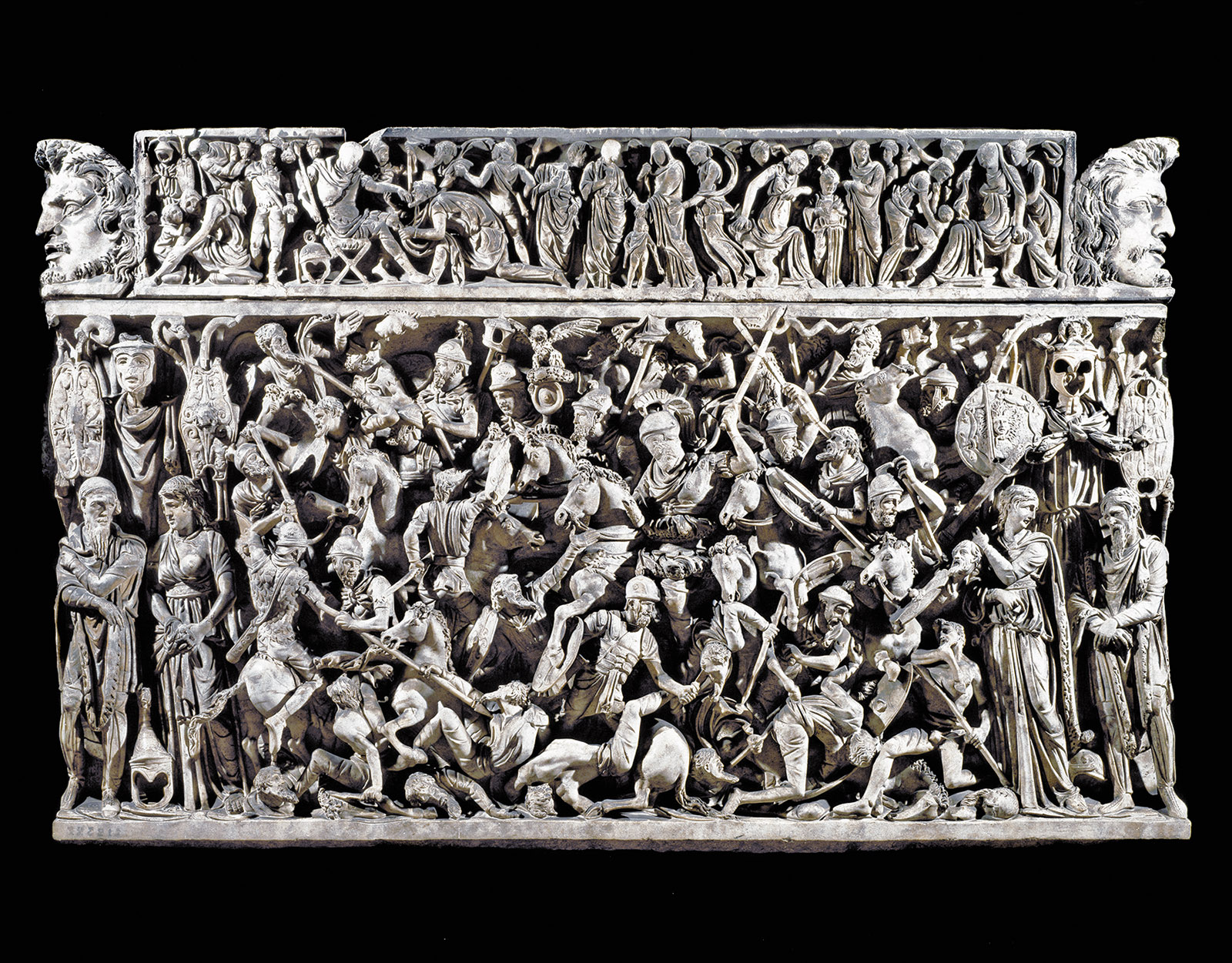 A relief showing battles between Roman soldiers and barbarians, from the sarcophagus of a Roman general, circa 180–190
