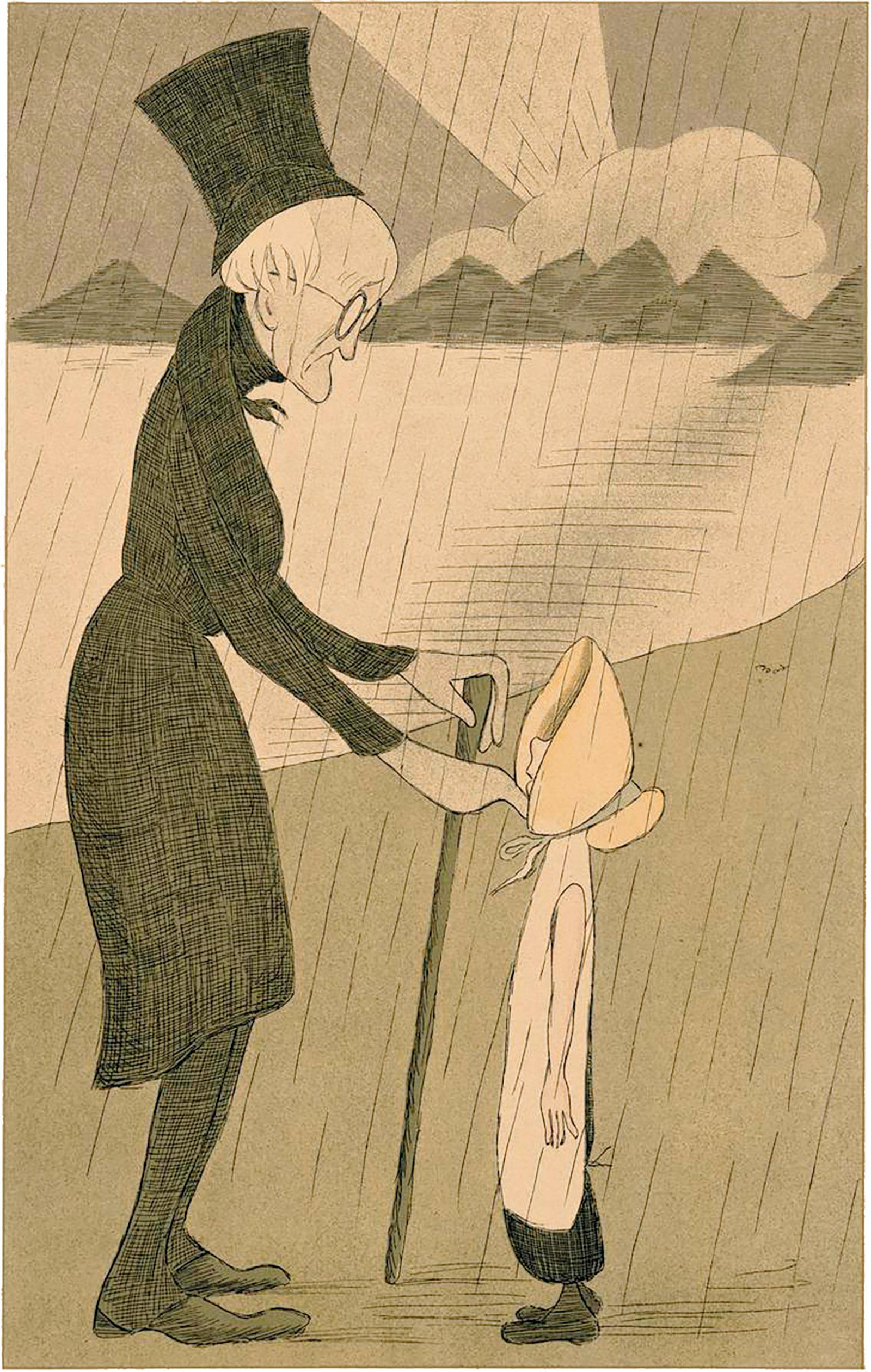 Max Beerbohm: William Wordsworth in the Lake District, at Cross-purposes, 1904