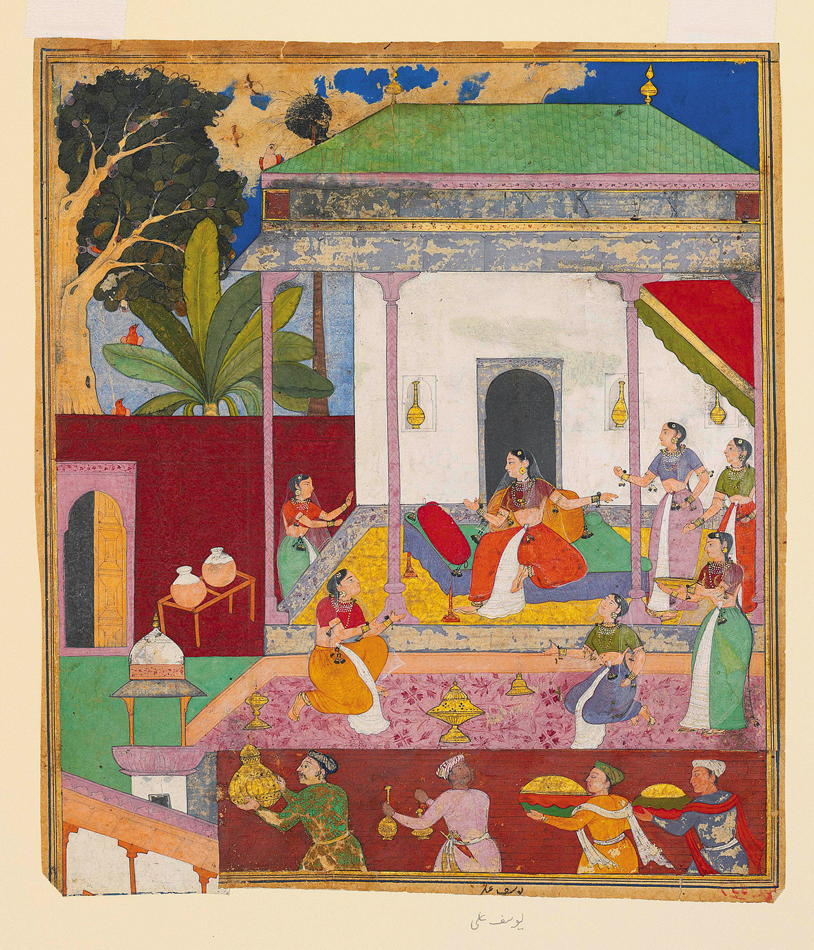 Draupadi and Her Attendants; illustration by Yusuf Ali from the Razmnama, a Persian translation of the Mahabharata