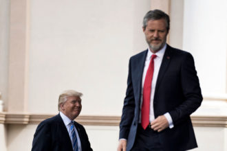 President Donald Trump and President of Liberty University Jerry Falwell, Jr. at Liberty University's commencement ceremony in Lynchburg, Virginia, May 13, 2017
