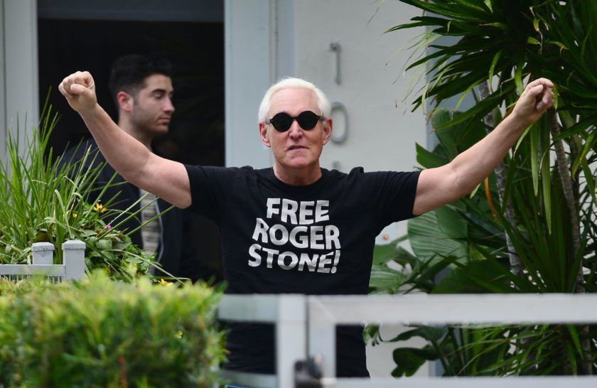 Roger Stone celebrating outside his Florida home after President Trump commuted the sentence of his ally, Fort Lauderdale, July 12, 2020