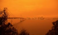 San Francisco seen from Treasure Island as orange smoke and haze from multiple wildfires blankets the Bay Area, California, September 9, 2020
