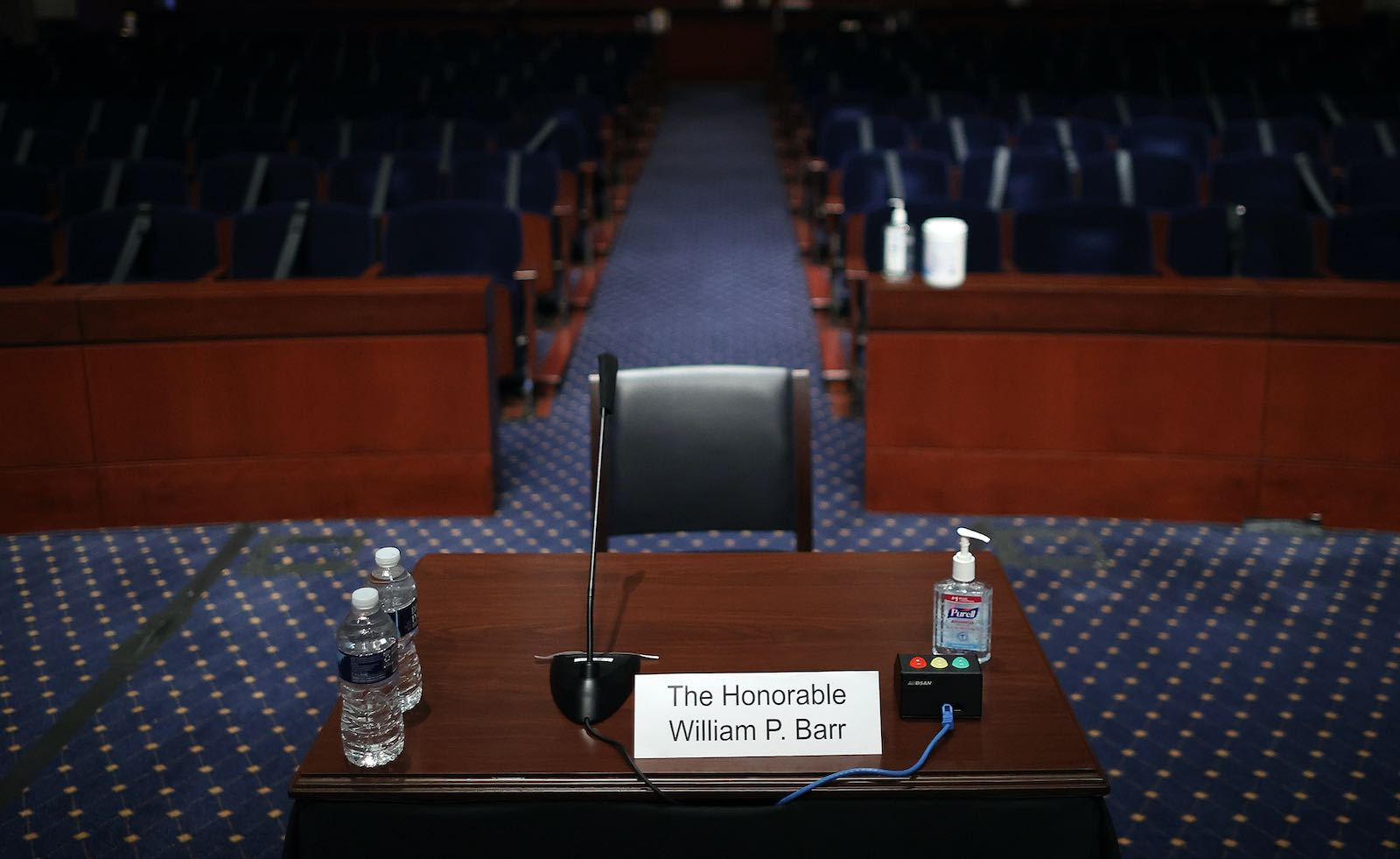 A congressional chamber prepared for a session of the House Judiciary Committee
