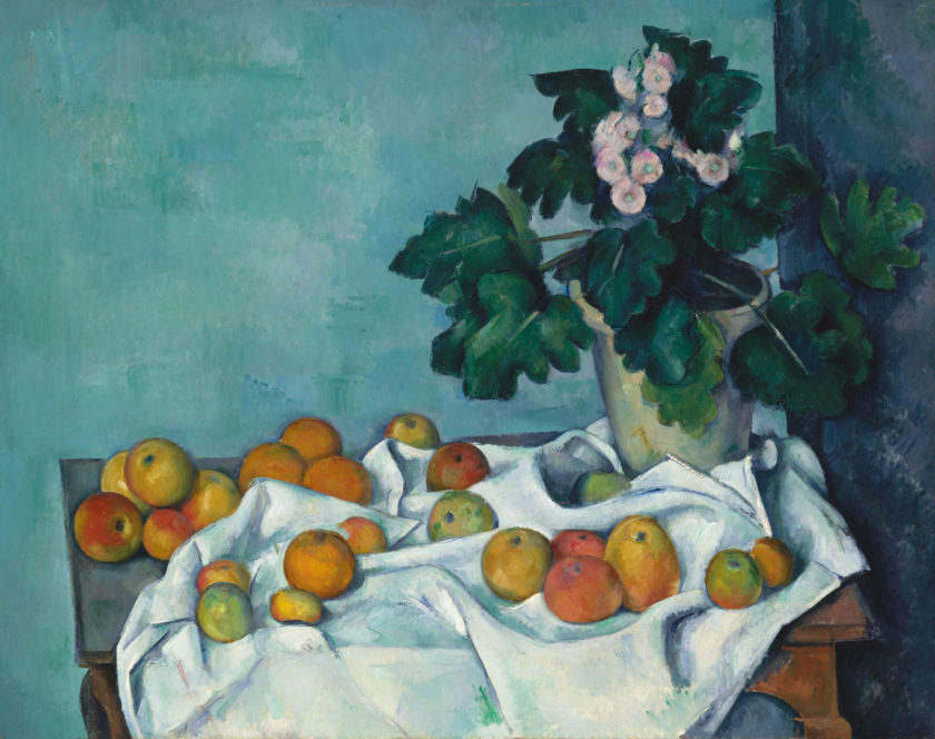 Paul Cézanne: Still Life with Apples and a Pot of Primroses, circa 1890