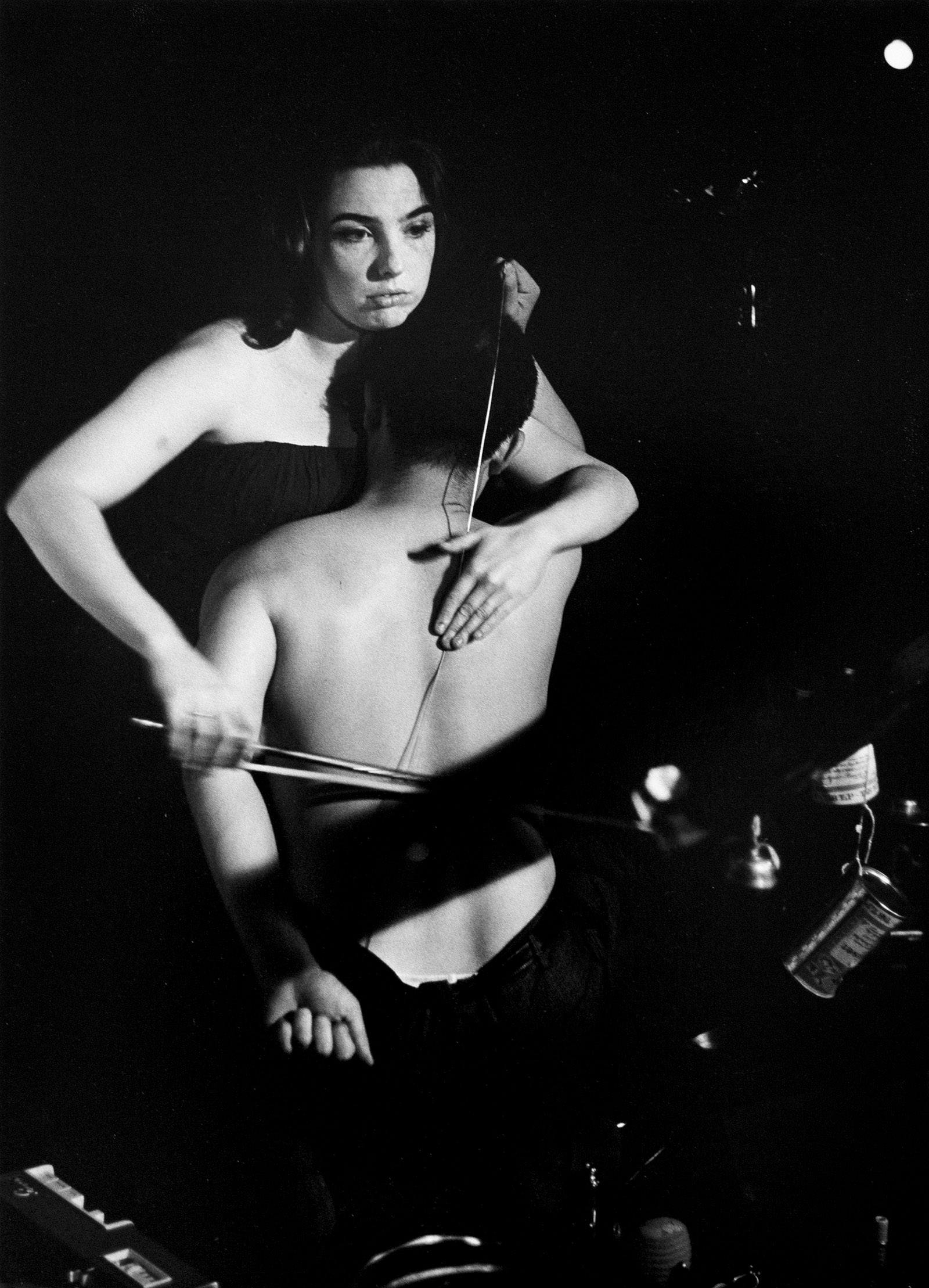 Charlotte Moorman and Nam June Paik performing John Cage's 26'1.1499'' for a String Player