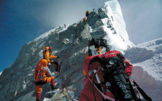 Climbers approaching the summit of Mount Everest, 2010