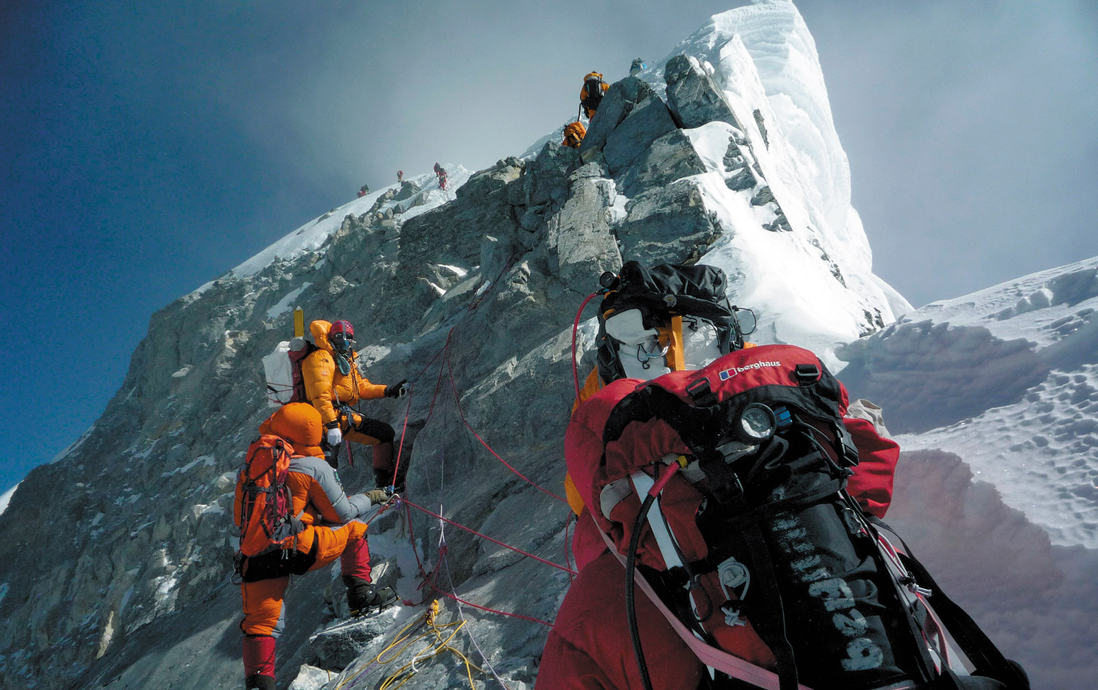Climbers approaching the summit of Mount Everest