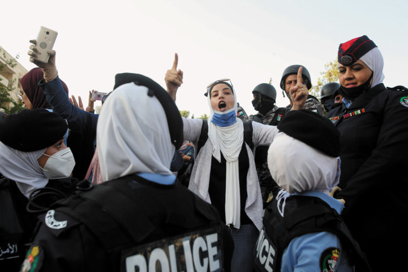 Police blocking protesters after the arrests of the leaders of the Jordanian Teachers' Syndicate, Amman, July 29, 2020