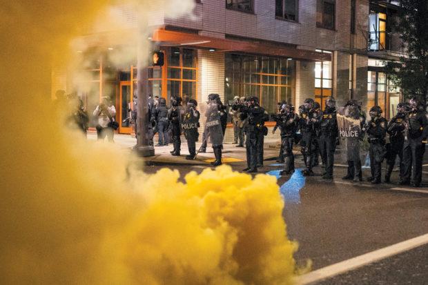 Federal officers dispersing a protest against Immigration and Customs Enforcement, Portland, Oregon, September 18, 2020