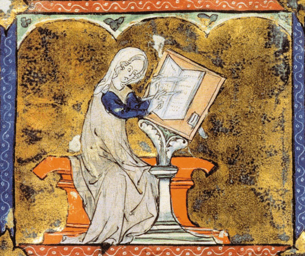 The writer Marie de France, who lived in England in the late twelfth and early thirteenth centuries, pictured in a collection of poems in old French, from an illuminated manuscript copied in Paris circa 1285–1292
