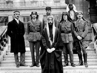 Prince Faisal and his delegation, including T.E. Lawrence (third from right), at the Paris Peace Conference, 1919