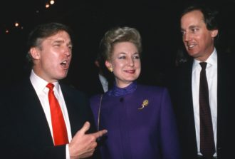 Donald Trump attending the opening of his Taj Mahal casino with his sister Maryanne and brother Robert, Atlantic City, New Jersey, April 1990